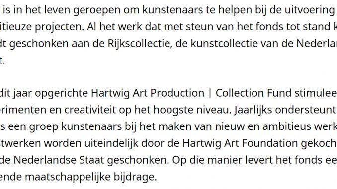 Nieuw kunstfonds in Nederland